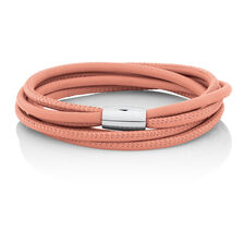 "38cm (15"") Wild Hearts Double Wrap Multi-Strand Bracelet in Pink Leather & Stainless Steel"