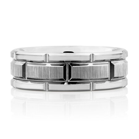 Men's Patterned Ring in White Tungsten