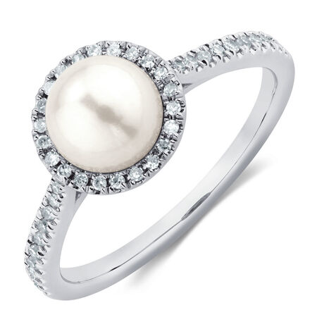 Ring with 1/7 Carat TW of Diamonds, Pink Sapphire & Cultured Freshwater Pearl in 10kt Rose & White Gold