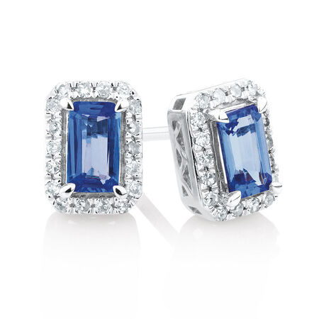 Stud Earrings with Tanzanite & 1/6 Carat TW of Diamonds in 10kt White Gold