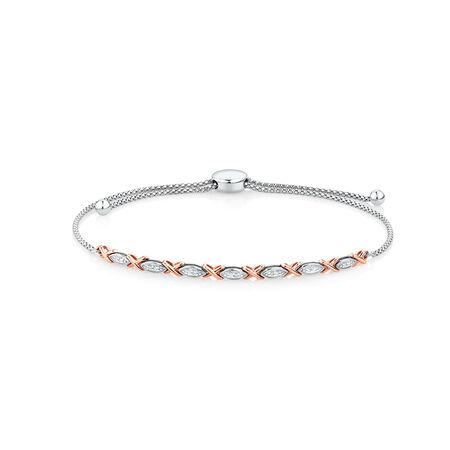 Adjustable Bracelet with 1/15 Carat TW of Diamonds in Sterling Silver & 10kt Rose Gold