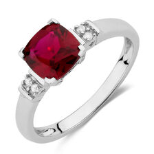 Ring with Created Ruby & Diamonds in 10kt White Gold