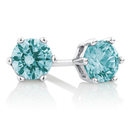 Stud Earrings with Aqua Cubic Zirconia in Sterling Silver