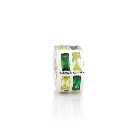 Online Exclusive - Hexagonal Charm with Green & Yellow Cubic Zirconia in Sterling Silver