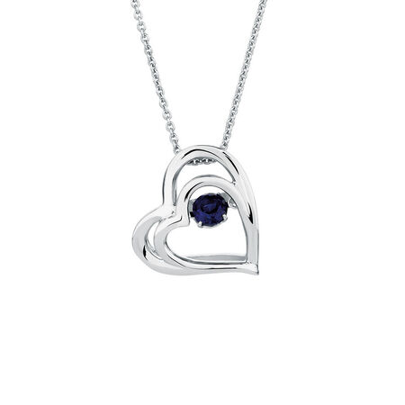 Everlight Heart Pendant with Created Sapphire in Sterling Silver