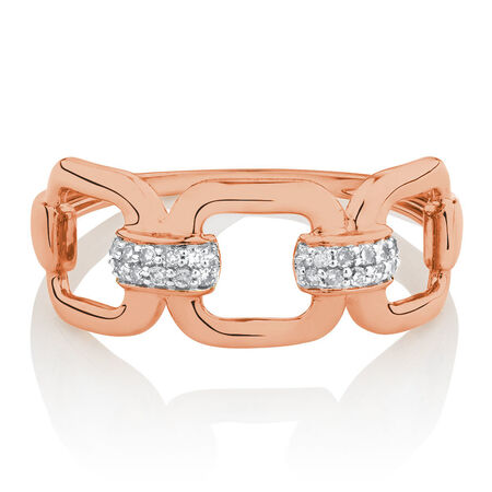 Link Ring with Diamonds in 10kt Rose Gold