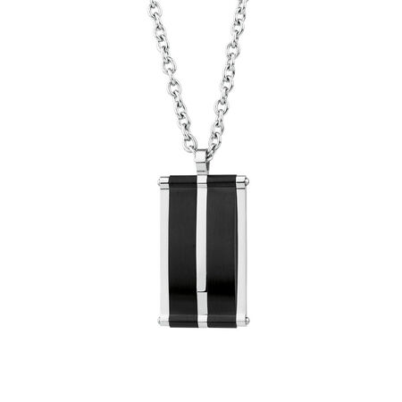 Men's Pendant in Black PVD Plated Stainless Steel