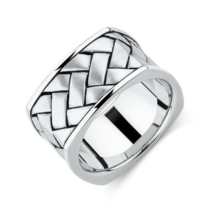 Men's Weave Pattern Ring in 925 Sterling Silver