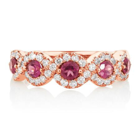 Ring with 0.46 Carat TW of Diamonds & Rhodolite Garnet in 14kt Rose Gold