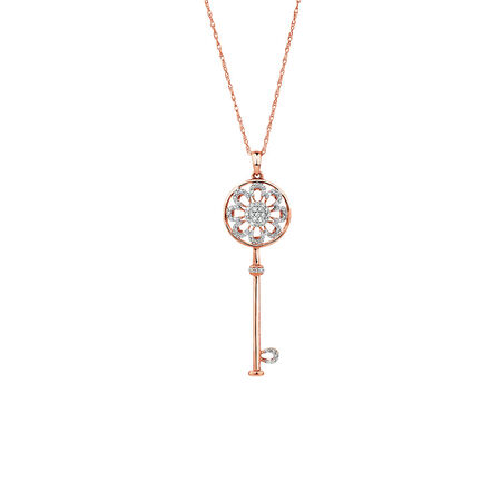 Key Pendant with 0.16 Carat TW of Diamonds in 10kt Rose Gold