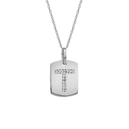 """T"" Initial Rectangular Pendant With Diamonds In 10ct White Gold"