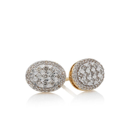 Earrings with 3/8 Carat TW of Diamonds in 10kt Yellow Gold