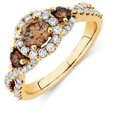 Three Stone Engagement Ring with 1 1/4 Carat TW of Champagne & White Diamonds in 14kt Yellow Gold