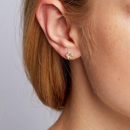 Stud Earrings in 10kt Yellow & White Gold