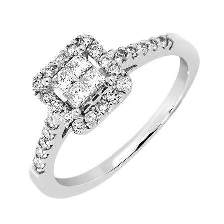 Online Exclusive - Engagement Ring with 1/2 Carat TW of Diamonds in 14kt White Gold