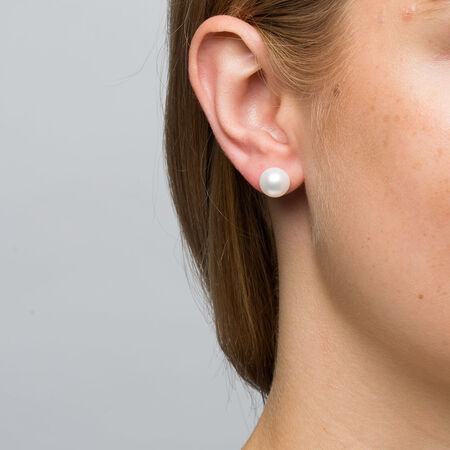 Stud Earrings with 9mm Cultured Freshwater Pearl in 10ct Yellow Gold