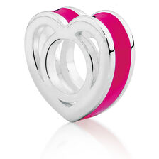 Hot Pink  Heart Enamel Charm