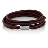"38cm (15"") Double Wrap Multi-Strand Bracelet in Maroon Leather & Stainless Steel"
