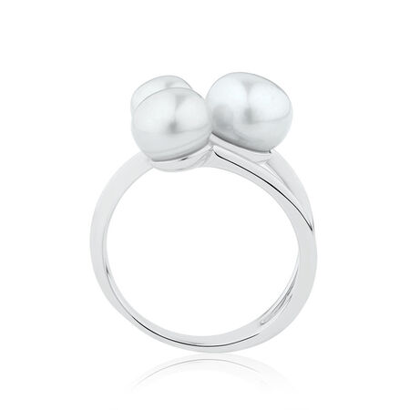 Ring with Cultured Freshwater Pearls in Sterling Silver