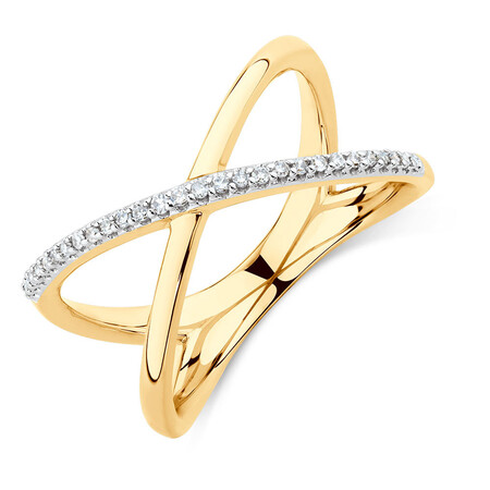 Geometric Ring with Diamonds in 10kt Yellow Gold