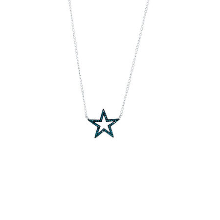 Online Exclusive - City Lights Pendant with 1/8 Carat TW of Enhanced Blue Diamonds in Sterling Silver