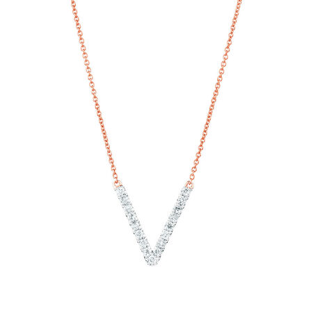 Geometric Necklace with Diamonds in 10kt Rose Gold