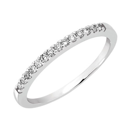 Wedding Band with 1/8 Carat TW of Diamonds in 14kt White Gold