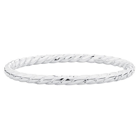 Online Exclusive - Patterned Twist Bangle In Sterling Silver