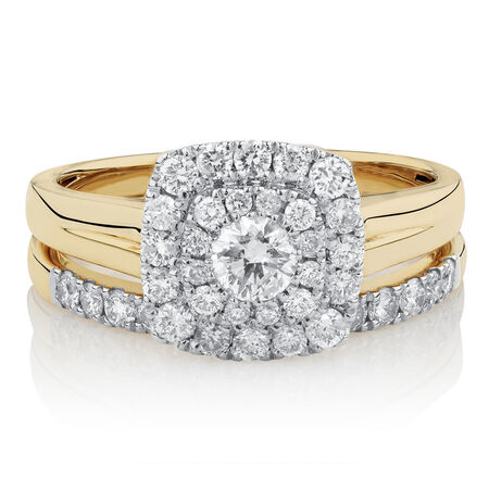 Bridal Set with 7/8 Carat TW of Diamonds in 10kt Yellow & White Gold