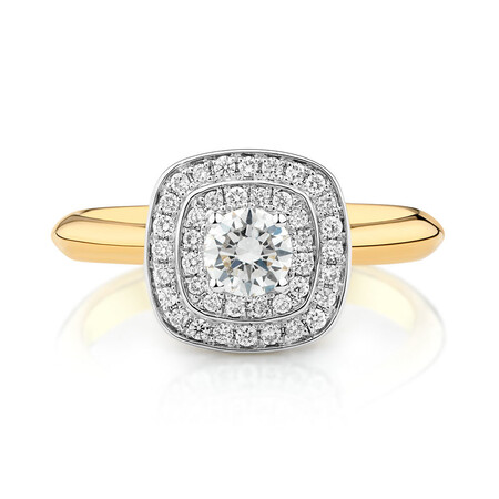 Whitefire Engagement Ring with 1/2 Carat TW of Diamonds in 18kt White & Yellow Gold & 22kt Yellow Gold