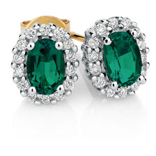 Stud Earrings with Created Emerald & Diamonds in 10kt Yellow & White Gold