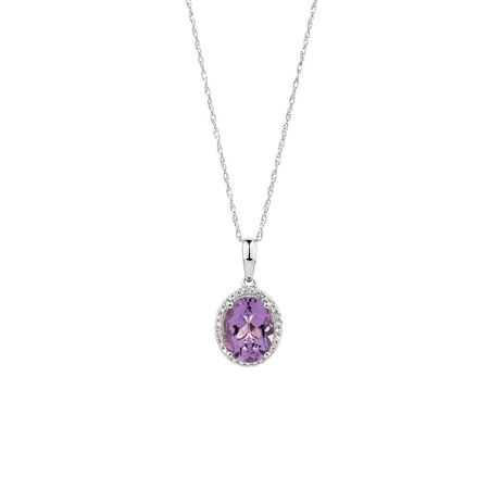 Pendant with Amethyst & 1/15 Carat TW of Diamonds in 10kt White Gold