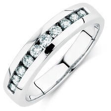 Men's Wedding Band with 1/4 Carat TW of Diamonds in 14kt White Gold