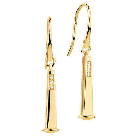 Diamond Set 10kt Yellow Gold 26mm Charm Drop Earrings