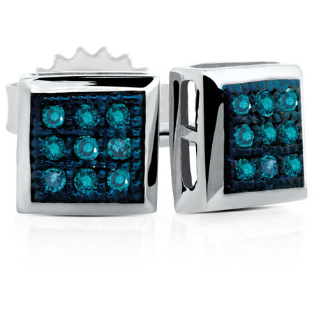 Online Exclusive - Stud Earrings with Enhanced Blue Diamonds in Sterling Silver