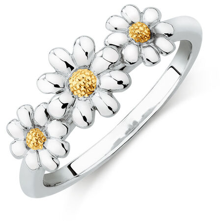 10kt Yellow Gold & Sterling Silver Three Daisy Stack Ring