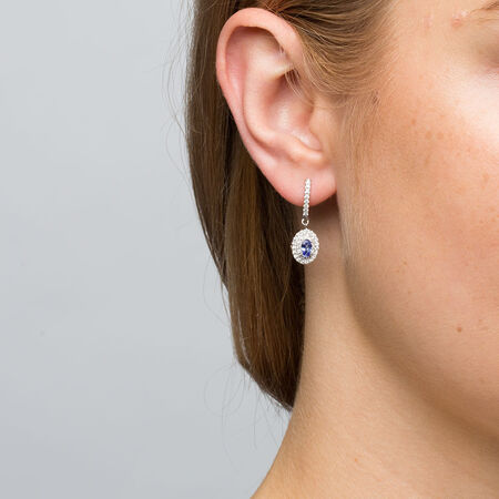 Michael Hill Designer Fashion Earrings with Tanzanite & 3/8 Carat TW of Diamonds in 10kt White Gold