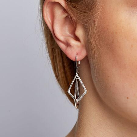 Drop Earrings with 1/20 Carat TW of Diamonds in Sterling Silver