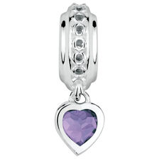 Sterling Silver June Heart Charm