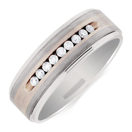 Men's Ring with 0.27 Carat TW of Diamonds in Gray Tungsten & Sterling Silver
