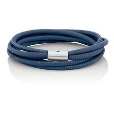 "38cm (15"") Double Wrap Multi-Strand Bracelet in Blue Leather & Stainless Steel"