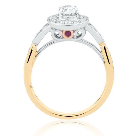 Sir Michael Hill Designer GrandAmoroso Engagement Ring with 1 Carat TW of Diamonds in 14kt White, Yellow & Rose Gold