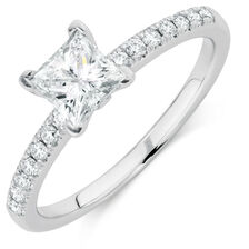 Evermore Colorless Engagement Ring with 0.86 Carat TW of Diamonds in Platinum