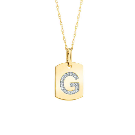 """G"" Initial Rectangular Pendant With Diamonds In 10ct Yellow Gold"