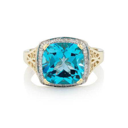 Online Exclusive - Ring with 0.14 Carat TW of Diamonds & Blue Topaz in 10kt Yellow Gold