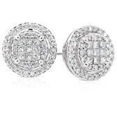 Halo Stud Earrings with 1/2 Carat TW of Diamonds in 10kt White Gold
