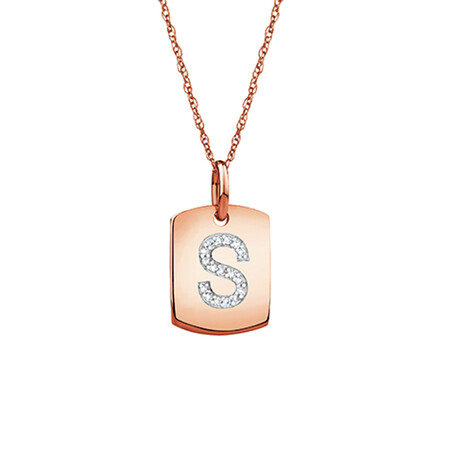 """S"" Initial Rectangular Pendant With Diamonds In 10ct Rose Gold"