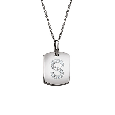"""S"" Initial Rectangular Pendant With Diamonds In 10ct White Gold"