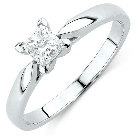 Evermore Solitaire Engagement Ring with 1/2 Karat TW Diamond in 14kt White Gold