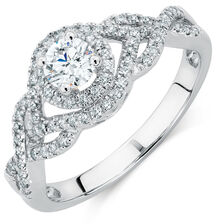 Engagement Ring with 5/8 Carat TW of Diamonds in 14kt White Gold
